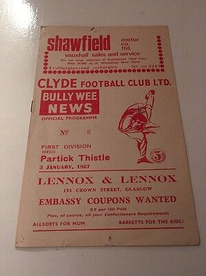 CLYDE v PARTICK THISTLE Football Programme 3rd January 1967