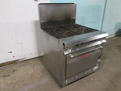 """""""VULCAN-7845-AB"""" H.D. COMMERCIAL NATURAL GAS 4 BURNERS S.S. STOVE/RANGE w/OVEN"""