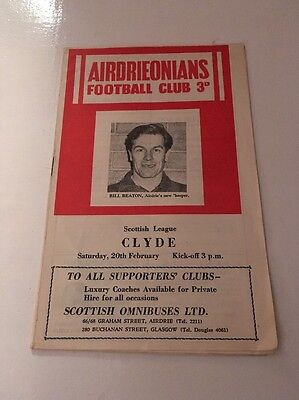 AIRDRIEONIANS v CLYDE Football Programme 20th February 1960 Airdrie