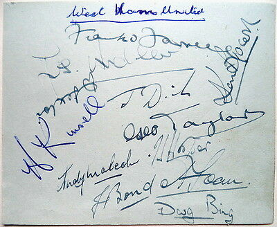West Ham United 1954/55 League Div Ii Autograph Sheet