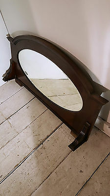 Antique Solid Mahogany Sideboard Overmantle Bevelled Mirror