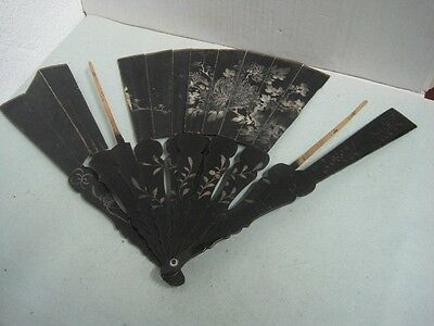 19 Th Century Chinese Fans Parts Lacquered Wood