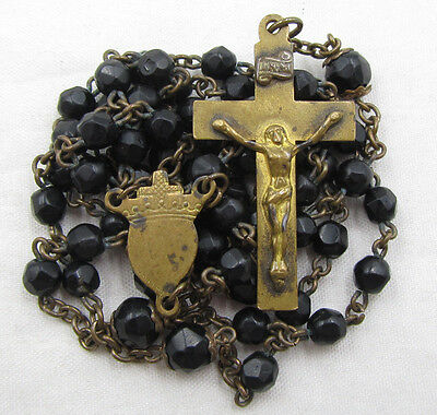 """† Antique """"mourning"""" Good Death Crown Heart W/ Black Glass Capped Tiny Rosary †"""