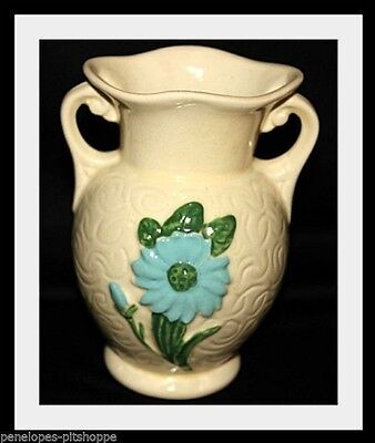 Pottery USA 4-6 Marked Vase White with Blue Flower Vintage