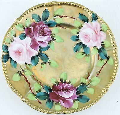 Antique Small Plate Heavy Gold,beaded Rims,hand Painted Pink Roses Green Leaves