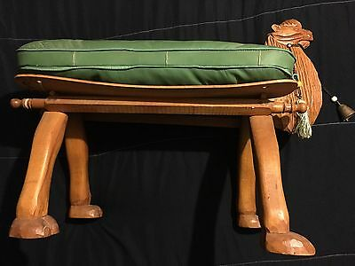 MID CENTURY Camel Saddle Foot Stool Seat Bench Hand Carved Camel Head/Feet Seat