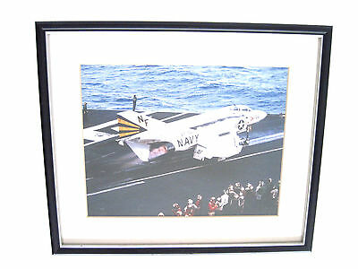 Framed Color Photograph Of An U.s. Navy 18E Super Hornet Take Off From Carrier