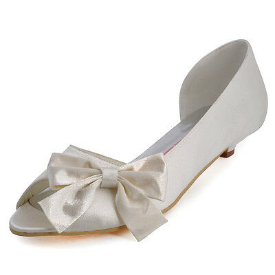 WM-019 Ivory Peep Toe Low Heel Pumps Bow knot Satin Wedding Bridal Shoes size 5