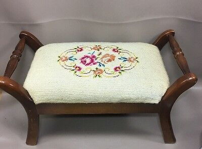 Vintage Needlepoint Upholstered ORNATE Wooden Foot Stool Birds