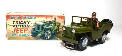 Vintage Marx Tricky Action Jeep Battery Operated Toy Collectible