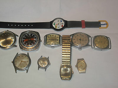 10 Vintage Wristwatches. as found, they are sold as is for parts or repairs.