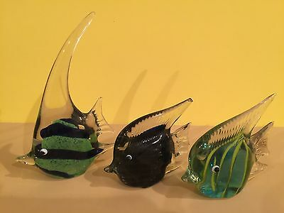 Art Blown Glass Fish Home Decor Set Of 3