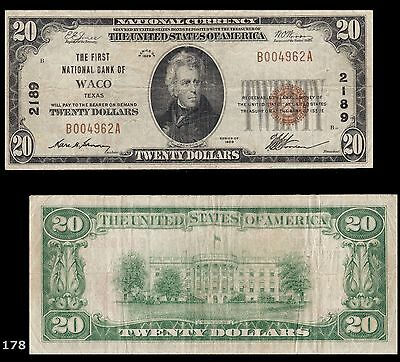 1929 Waco, TX - 1929 Ty. 1 The First NB Charter # 2189, Texas, Lone Star State