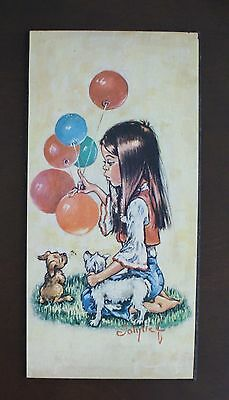 Retro 60's Big Eye Art by Jolylle F, Wall Plaque of Girl with Dogs and Balloons