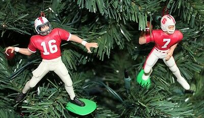 Stanford Cardinal Christmas Tree Ornament Pair-Jim Plunkett & John Elway