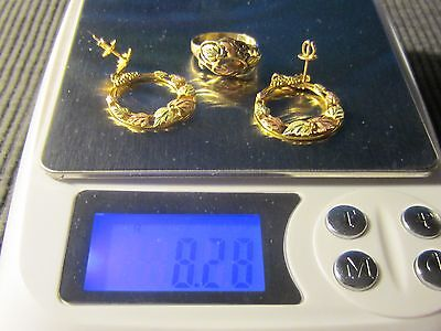 10K Vintage Matching Ring And Earrings