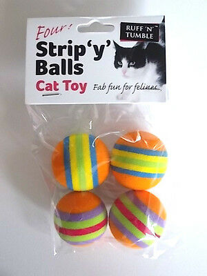 Ruff 'n' Tumble Cat Toy - Strip 'y' Balls ( Pack Of 4 ) - New