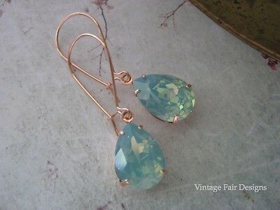 Dainty pear Swarovski pacific opal crystal rose gold plated long drop earrings