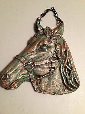 Vintage Brass Chained Horse Head Home Barn Decoration Bridle