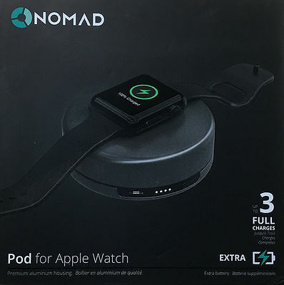 Nomad Charging Pod for Apple Watch - (pod-apple-sg-001) - Space Gray 3 Full Char