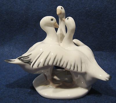 Gagle of Geese Porcelain Figurine
