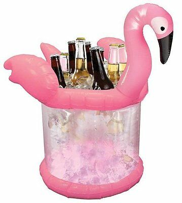 Pink Flamingo Ice Bucket Bottle Beer Can Holder Party Pool Tropical Cooler Wine