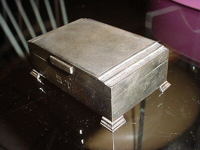 ENGLISH STERLING DECO CIGARETTE case wood lined BOX FOOTED