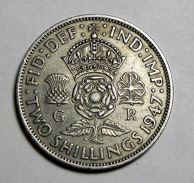 1947 Great Britain George-V Two Shillings Coin!!!! 2 Shillings Uk Florin Coin