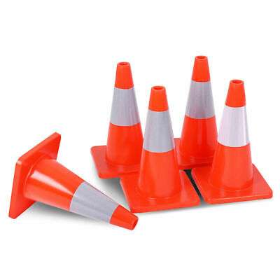 """5PCS Traffic Cones 18"""" Slim Fluorescent Reflective Road Safety Parking Cones New"""