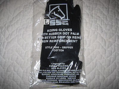 NIP SSG black Womens's cotton  riding gloves - large- with rubber dot palm