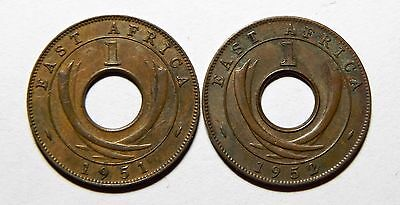 2  British East Africa  One Cent Coins Very Nice Condition  1951, 1952 !!