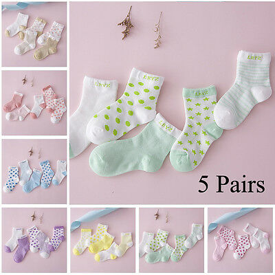 5 Pairs Lovely Baby Newborn Infant Toddler Soft Boys Girl Cotton Socks UK Stock