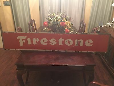 """Vintage Double Sided Firestone Metal Large 63""""X 11.5"""" Sign"""