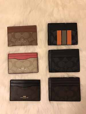 New Coach Signature  PVC Card Case Credit Card Holder Mini Wallet