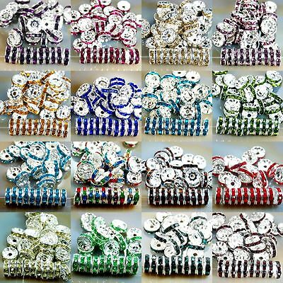 100Pcs Clear Crystal Rhinestone Silver Plated Rondelle DIY Spacer Beads 6mm