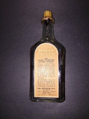 rare Antique Barber Bottle Rapid Tan Ed Pinaud w/ labels and some content great