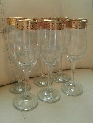 PASABAHCE Turkey art of glass champagne fluted glasses gold trim set of 6