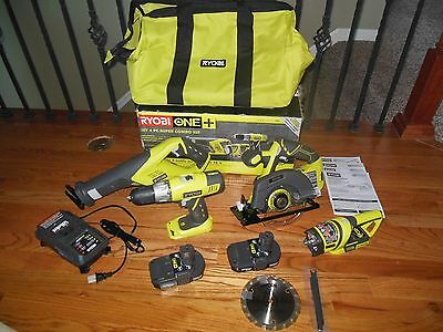 NEW Ryobi 18 Volt ONE+ Lithium Ion Cordless Super Combo 4-Piece Kit P883