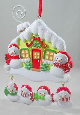 Family of 6 Snowmen with House Christmas Tree Ornament new holiday