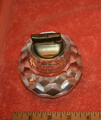 Vintage Imported Crystal Hand Cut Paper Weight with Japan Removable Lighters