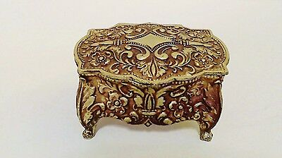 Metal Trinket Ring Jewel Box Embossed Scrolls Flowers Velvet Lining Footed EUC