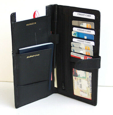 Black Leather Wallet Passport Boarding ID Card Ticket Holder Travel Cover Strap-