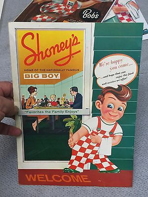 SHONEY'S Big Boy Menu    Late 50's /  Early 60' Near MINT   LOOK at PHOTOS