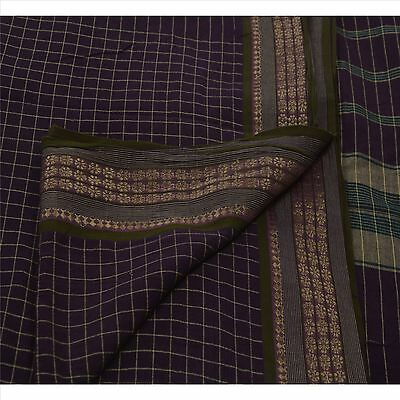 Sanskriti Vintage 100% Pure Cotton Saree Purple Woven Sari Craft Cultural Fabric