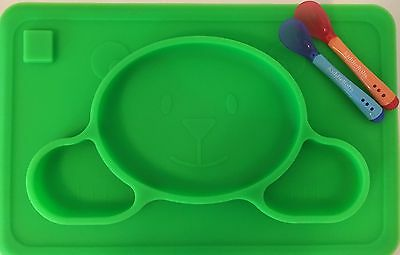 Kiddiebobs Kids Silicone Food Placemat with 2 Spoons, BPA Free, FDA Approved