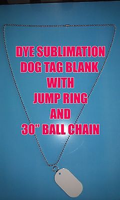 "Aluminum Dye Sublimation Dog Tag Blanks -50PC Lots with 30"" Ball Chain & Ring"