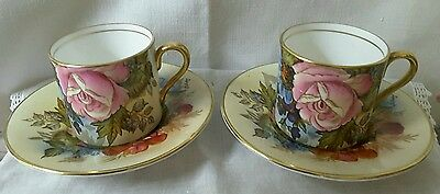 Pair of Aynsley Coffee Cups and Saucers, Roses, signed J Bailey