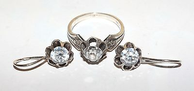 AMAZING Vintage Last century Ring Earrings Silver 875 925 USSR Antique