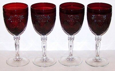 Stunning Cristal D'arques Durand Glass Antique-Ruby Set Of 4 Water Goblets