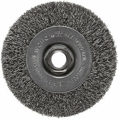 Weiler Trulock Narrow Face Wire Wheel Brush, Threaded Hole, Steel, Crimped Wire,